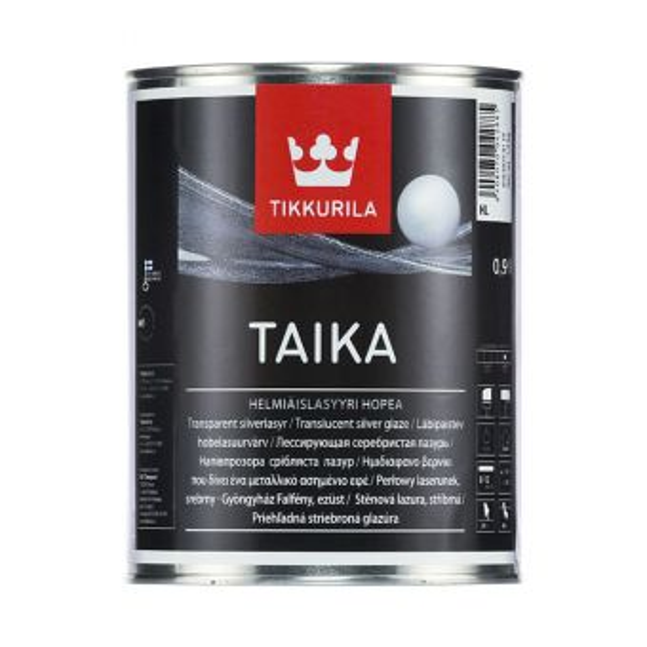 Taika Pearl Glaze - HL | Tikkurila | Buy Paint Online| 818 6075 0110|818 6075 0110_1_Taika_helmiaislasyyri_hopea_0.9L_1.jpg